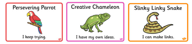 Picture of the Persevering Parrot, Creative Chameleon and Slinky Linky Snake